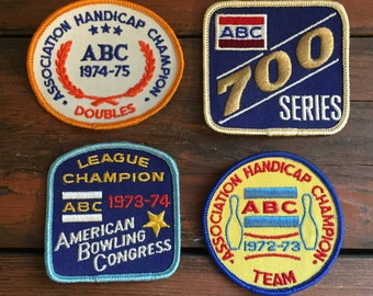 Set of 4 Bowling Patches/ 1970's/ ABC