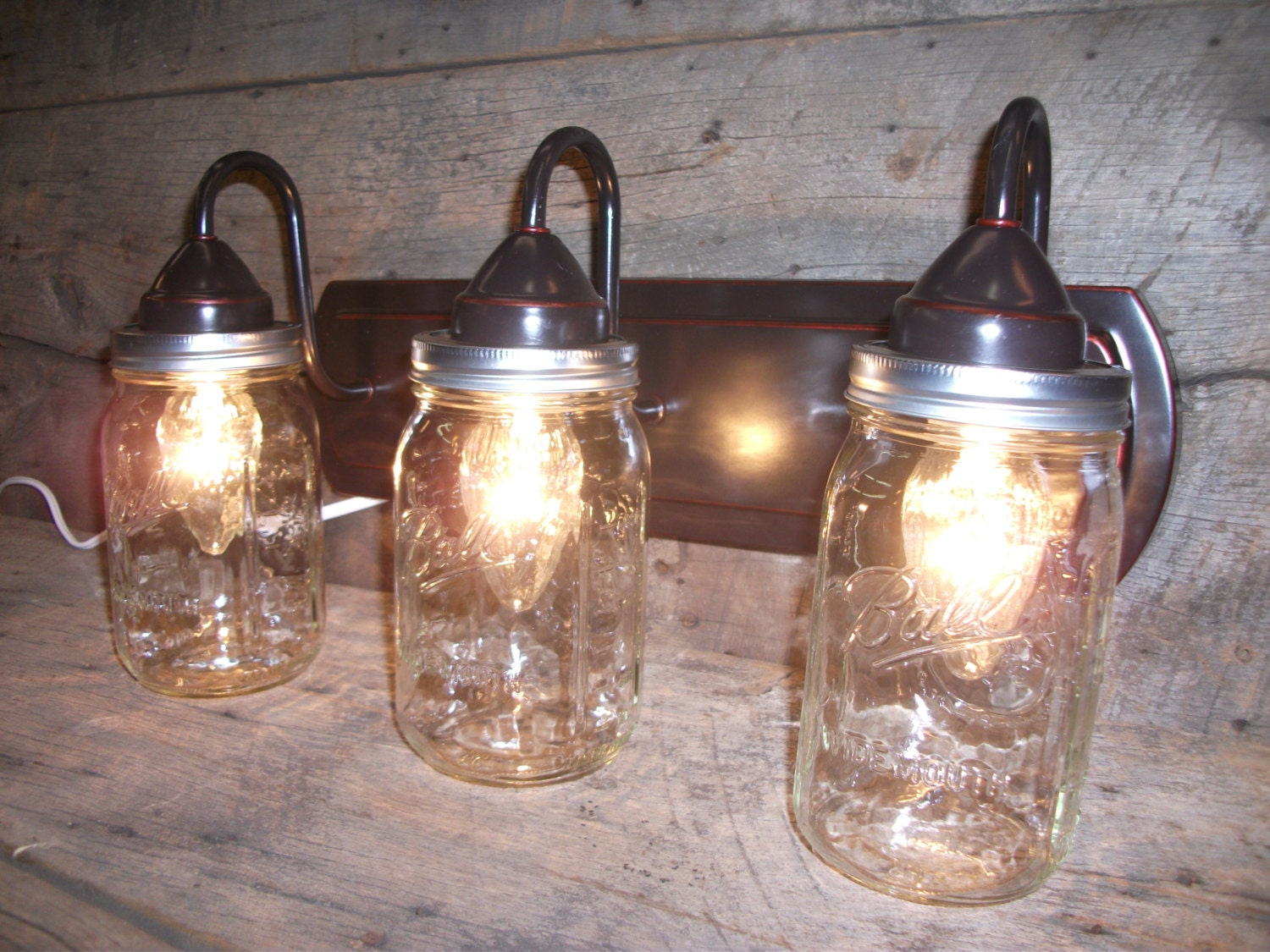 Ball Jar Vanity Lights : Mason Jar Light 3 Light Weathered Bronze by DoubleGsWoodStuff