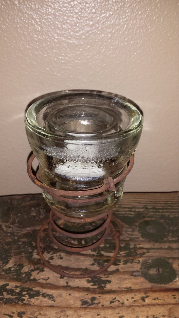 Items similar to recycled insulator candle holder on etsy for Insulator candle holder