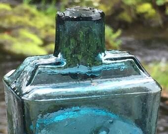 Antique inky blue  glass ink bottle, vintage Victorian ink bottle for a dip pen.