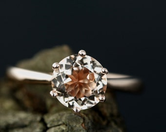 Amy Morganite Solitaire Ring 7mm/1.20 Carats Round Cut Morganite 14K Rose Gold Solitaire Engagement Ring (Other Metal & Stone Available)