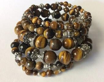 Tigers Eye Gemstone Bracelet, Gemstone Wrap Bracelet, Brown Bead Bracelet, Memory Wire Wrap bracelets , memory wire Bracelet, gifts for her