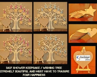 Baby shower keepsake/gift / 3D wooden wishing tree guestbook /gift for mum to be first class post