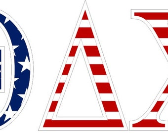 theta delta chi american flag greek letter sticker 25