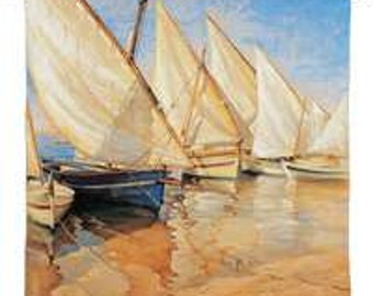 "White Sails I - 53""x54"" Tapestry Wall Hanging"