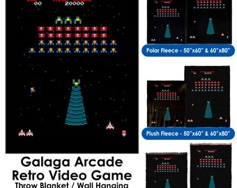 Galaga Arcade Retro Video Game - Throw Blanket / Tapestry Wall Hanging
