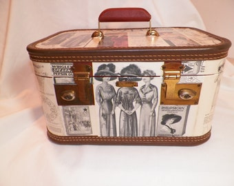 Vintage  Decorated Leather Train Case