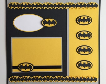 "Handmade Premade 12""x12"" Batman Scrapbook Layout"