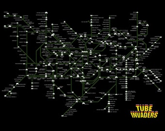 London Underground Tube Map as Space Invaders  A3 A2 A1 A0 Poster Print