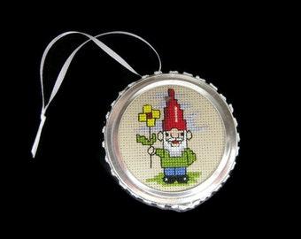 Cross Stitch Gnome Ornament