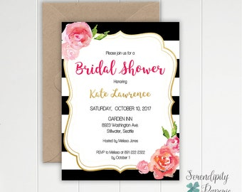 Kate Spade inspired Bridal Shower Invitation stripes and pink flowers invitation printable