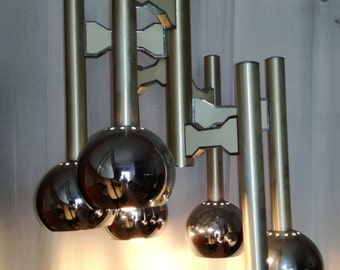 Sciolari chrome eyeball chandelier 6 luci by Gaetano Sciolari Made in Italy 1960s
