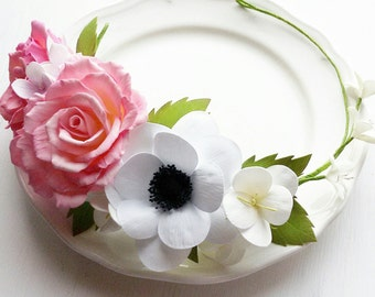 Floral crown, Bridal floral crown, Bridal flower crown, Bridesmaids headpiece, Blush flower crown, floral headband, floral headpiece
