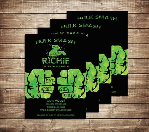 Incredible Hulk Birthday Invitation Boys Birthday Invite