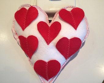 Valentine's Day gift , Heart Shape Pillow, Home Decor, Gift Ideas, Handmade Item, Felt Pillow, Gift For Her, Gift For Him