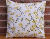 Birds in tree branches Green and Blue Nature Decorative Pillow Cushion Cover 16  40cm