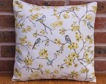 """Birds in tree branches Green and Blue Nature Decorative Pillow Cushion Cover 16"""" / 40cm"""