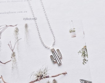 Cactus Necklace /  Succulents and Plant Necklace / Silver Plated Dainty Necklace Jewelry / Nature Inspired