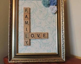 Family-Love word art frame with blue felt flower embellishment