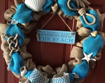 Beach Burlap Wreath