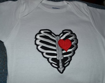 Rib cage with heart baby onesie 18 months