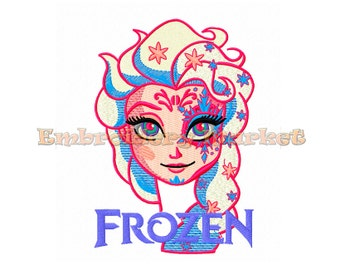princess elsa embroidery Design for Embroidery Machines 4 sizes - Instant Download