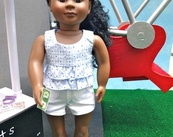 Flocked & Ruffled Top with Shorts - 18 inch Doll Clothing