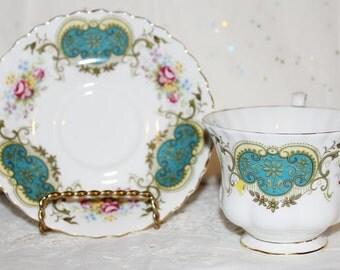 Vintage-Royal-Albert-Berkeley-Pattern Teacup & Saucer Aqua Blue Panels Pink Roses Montrose Shape Cup