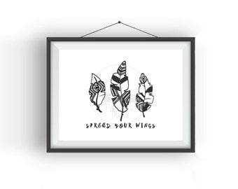 Spread Your Wings Monochrome Feather Print