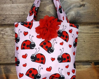 Lady Bug Little Girls Purse, Childs Tote, Childs Purse