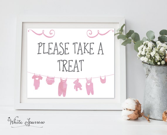 Baby Girl Please Take A Treat Baby Shower Sign Baby Shower
