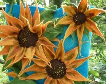 merino wool bag sunflower, blue wool bag, yellow wool flowers