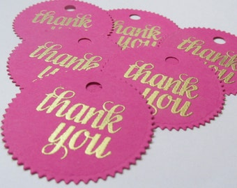 25  thank you tags/ hot pink and gold favor tags /circle tags/birthday favor tags/ bridal shower favor tags/baby shower thank you tags