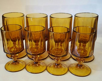 Amber Footed Goblet Drinking Glasses