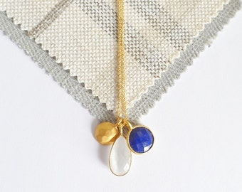 18ct Gold Over Silver Lapis Charm Pendant