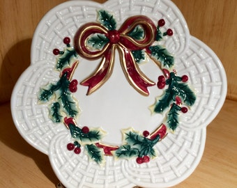 Vintage Fitz & Floyd Essentials Christmas Holly Wreath Cookie/Canape Plate or Wall Hanging, Hostess Gift, Christmas Gift, Teacher's Gift