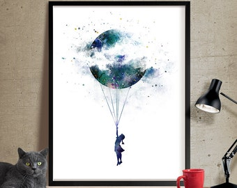 Moon Art Watercolor Wall Art Landscape Giclee Large PRINT Large Gift for Friend Modern Home Decor Wall Art Painting (351)