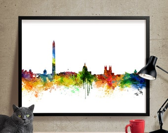 Washington dc  Skyline Watercolor Print, washington dc Cityscape Art Print, Watercolor Skyline (218)
