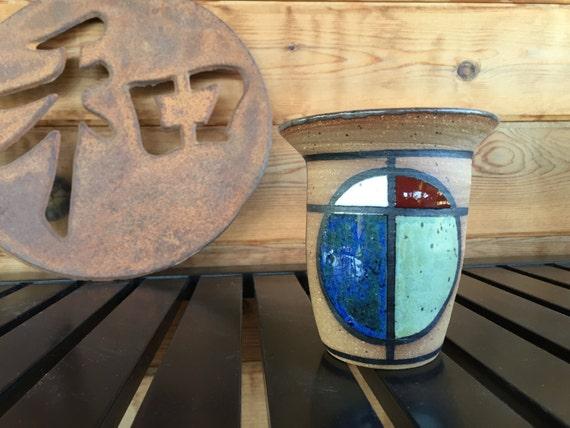 Shoji Wabi Pot #48, alabaster white red blue green