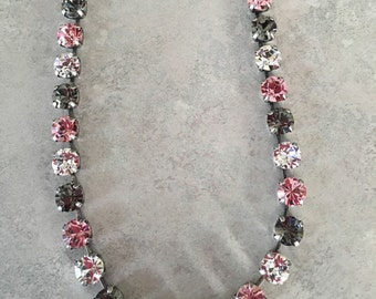 Handmade swarovski pink necklace