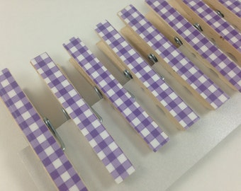 Purple Gingham Clothespins, Set of 8