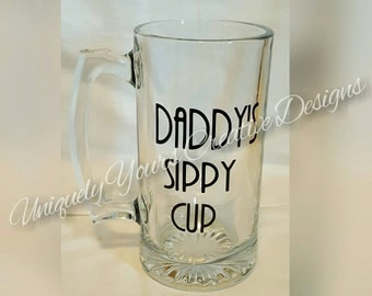 Daddy's Sippy Cup, Dad Beer Mug, Personalized Gift, Glass Beer Mug Stein, Gifts for Men, Father's Day Gift, Grandpa Gifts, Beer Lovers Mug,