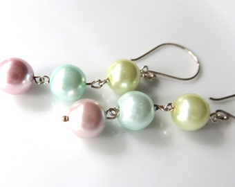 Pastel Pearl Dangle Earrings, Long Bridesmaid Earrings, Round Multicolor Pearls, Bridal Party Jewelry