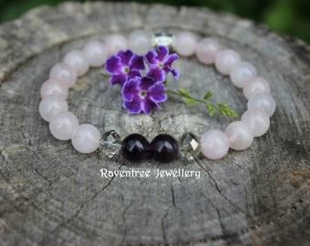 Amethyst & Rose Quartz Crystal Bracelet.
