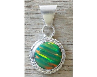 Lovely Green Opal Sterling Silver Round Pendant