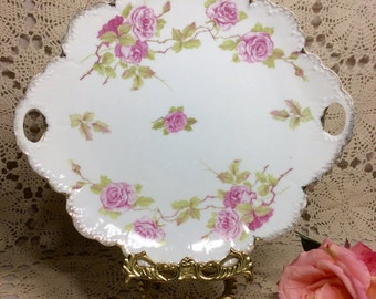 Antique 1900s Shabby Chic Cottage Style Porcelain Cake Plate Dish Rosenthal Bavaria Malmaison Plate Collectible Pink Roses