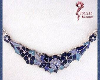 Flowers green, red, blue necklace, spring, strass, crystal Swarovski
