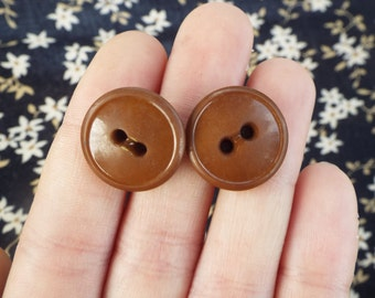 Brown Button Earrings