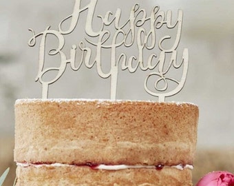 Happy Birthday Wooden Cake Topper - Boho Laser cut