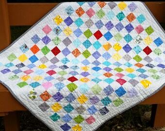 Baby Quilt - Checkerboard Quilt - Scrappy Quilt